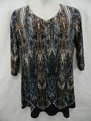 CATO Woman PLUS 14W 16W 1X Polyester Pullover 3/4 Slv Blouse Top Shirt