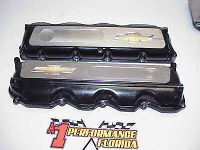 2 GM Bowtie Aluminum Valve Covers with Oilers for Chevy R07 Heads NASCAR Xfinity