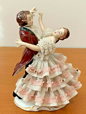 Bavaria Germany Porcelain Lace Figurine of Dancing Couple by Wilhelm Rittirsch