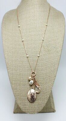 New Rose Gold Tassel Pendant & Locket Necklace by Neiman Marcus NWT #NM9