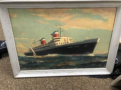 SS United State and SS America original oils  United States Shipping Lines
