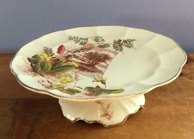 19C Aesthetic Movement Polychrome Compote Cake Stand Red Green Flowers Gold Trim