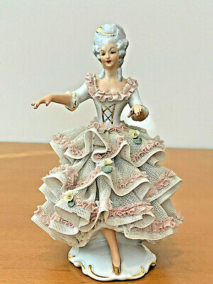 Dresden Germany Porcelain Lace Figurine of Woman, 5 Prong Crown N Mark