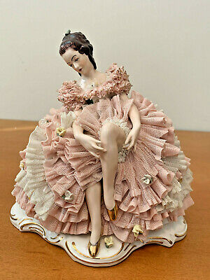 Dresden Germany Porcelain Lace Figurine of a Sitting Woman, 5 Prong Crown Mark
