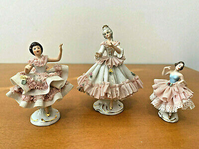 Lot of 3 Germany Porcelain Lace Ballerinas