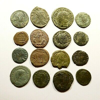 Lot Of 16 Imperial Roman Bronze Coins For Identifying - 19