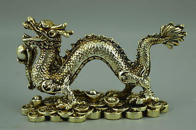 Collect China Handmade Tibet Silver Carve Dragon Hold Bead Rare Fine Statue