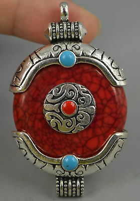 Decor Fine China Collect Tibet Silver Carve Totem Inlay Coral Rare Pendant