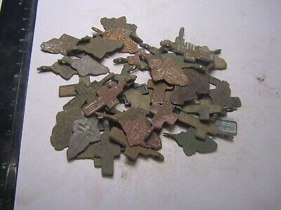 Metal detector finds.Mix lot  ancient crosses (The age of 18-19)50 pieces. N80