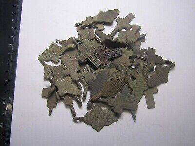 Metal detector finds.Mix lot  ancient crosses (The age of 18-19)50 pieces. N82