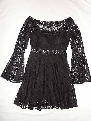NWOT Black Lace Designer Occasion Dress by *CAROL CATUGY* M / UK 8 - 10