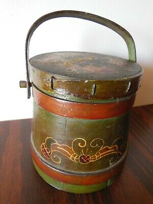 """ANTIQUE 5"""" Wood FIRKIN Bucket with Folk Art Paint Peter Hunt Style**Top Of Stack"""