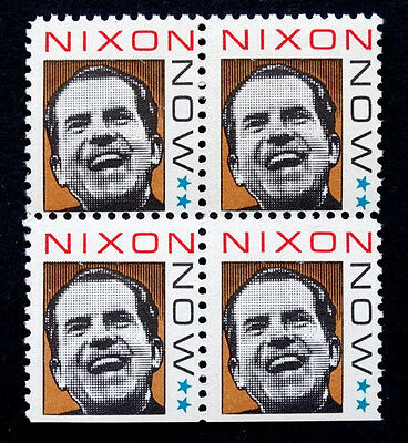 Vintage 1968 RICHARD NIXON NOW for PRESIDENT / 4 Commorative Campaign Stamp