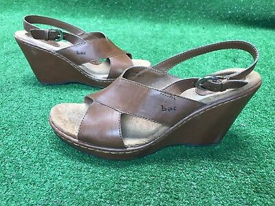 374e90aac BOC Born Concept Womens Brown Size 8M Leather Slingback Sandals 3.5 Inch  Wedge