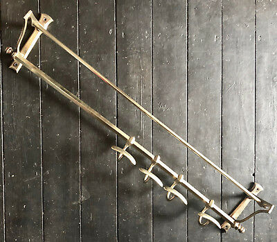 ANTIQUE FRENCH ART DECO 1930s SOLID BRASS COAT & HAT RACK RAILWAY TRAIN CARRIAGE