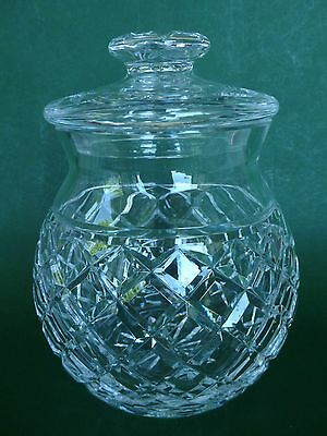 """Waterford (Ireland) Lead Crystal Cut Glass Biscuit Barrel - Vintage Boxed 8"""""""