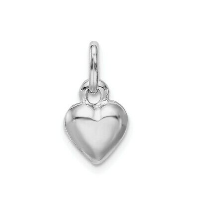 Tiny puffed hollow heart sterling silver charm .925 x 1 Love charms CF539