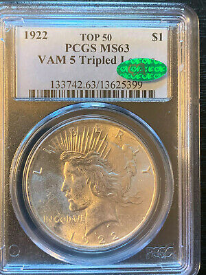 1922 Peace Silver Dollar Top 50 Vam 5 Tripled Leaves PCGS MS63 CAC US $1