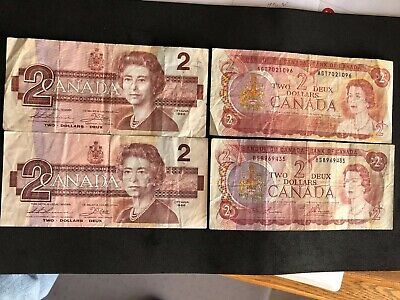 (4) Canada Canadian $2 two dollar Bank Notes 2 x 1974, 2 x 1986 Circulated