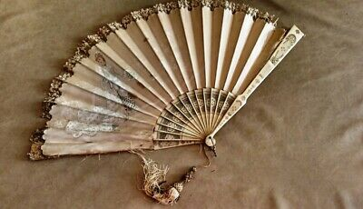 ANTIQUE 19thC MUSEAL FRENCH CARVED HAND PAINTED FAN - WEDDING SCENE