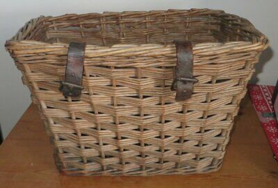 Large Vintage Antique bicycle basket, English wicker, solid and beautiful