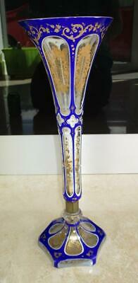 Large 19Th Century Bohemian Overlaid Tall Glass Vase