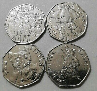 50p JOBLOT of 4x Fifty Pence Rare Coins commemorative Circulated Various designs