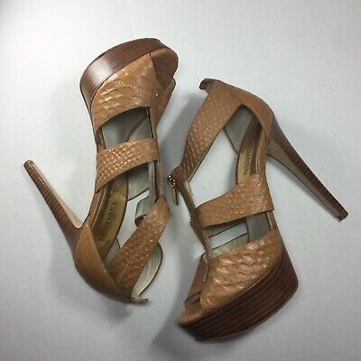 63da4900ef74 Michael Kors Women s Berkley Tan Alligator Print Leather Platform Sandals US  8.5