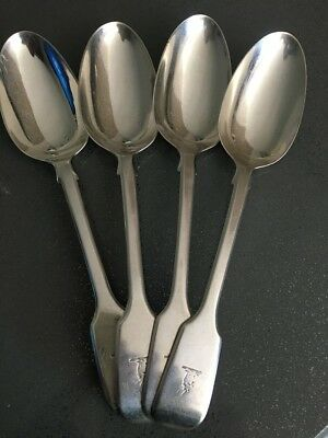 1842 Set of 4 Antique English Sterling Silver Fiddle desert or soup spoons