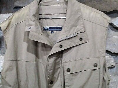 Mens Hiking Travel Utility Photography Vest Size Small Tan Zip Snap Front 1st B