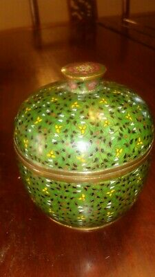 Antique Chinese Cloisonne Storage Box Jar Lidded Cover 19th Century Qing
