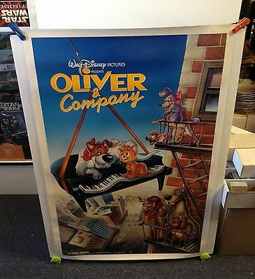 Vintage 1988 Disney's OLIVER & COMPANY Movie Poster 27x41 One Sheet **Rolled**