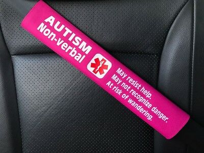Autism Non-verbal Medical Alert Seat Belt Safety Cover ICE