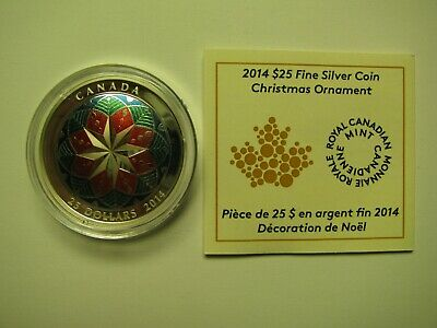 2014 Proof $25 Christmas Ornament Canada COIN&COA ONLY .9999 silver twenty-five