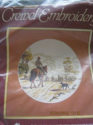 Crewel Embroidery Kit The Drover Horse Sheep Dog Printed Pure Linen Wools New