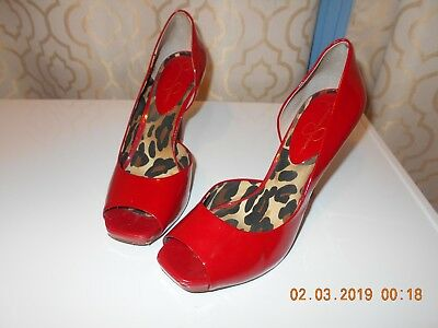 d0b823554b6c Jessica Simpson Peep Toe Red Patent Leather High Heel Shoes Size 8 MJosette