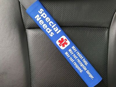Special Needs Medical Alert Seat Belt Safety Cover ICE