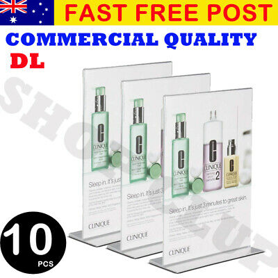 10X DL Acrylic Double Sided Sign Holder Retail Display Stands Menu AU Stock