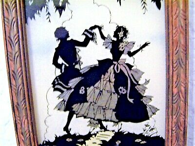 Colonial Couple Dancing Silhouette Foil Art  Reverse Painted on Glass Picture