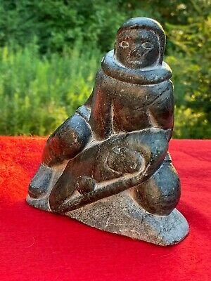 Inuit Art Soapstone Sculpture Carving: Woman & Child, GEORGE ARLUK (ARLOOK) ~5x3