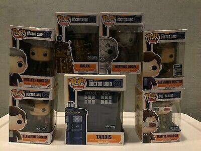 FUNKO POP DR WHO LOT OF 7 FIGURES EXCLUSIVE 10th, 11th, 12th Doctor SDCC Tardis