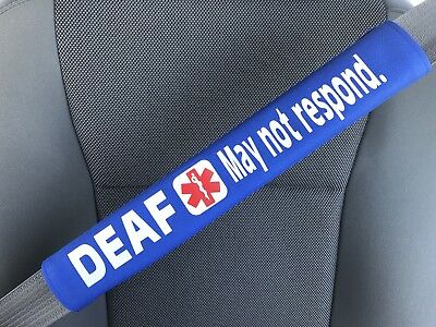 Deaf - May Not Respond - Medical Alert Seat Belt Cover ICE