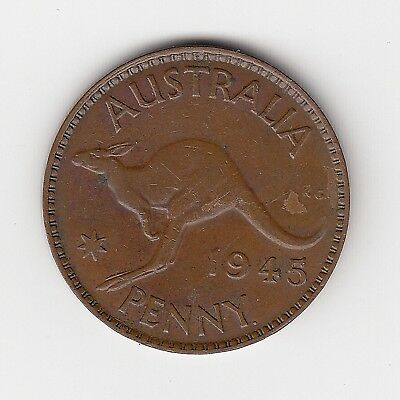 1945 Australia Kgvi Penny - Nice Collectable Vintage Coin