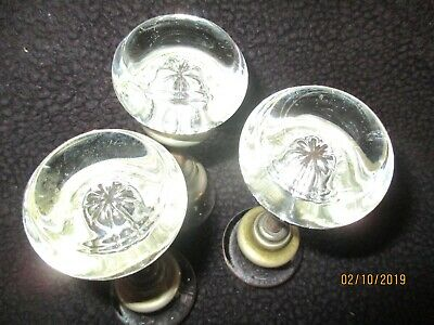 3 vintage antique crystal glass door knobs with rods
