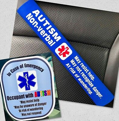 Autism Non-verbal Seat Belt Cover and Window Decal Set Royal Blue Safety Set