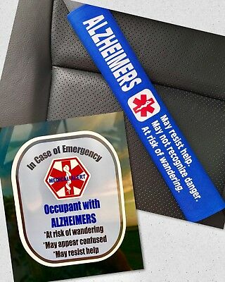 Alzheimers Seat Belt Cover and Window Decal Set Royal Blue Safety Set