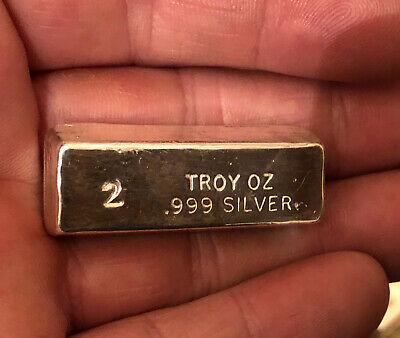 Ingot - 2 oz. 999  Fine Silver Bar - PURE - Hand Poured - Uncirculated