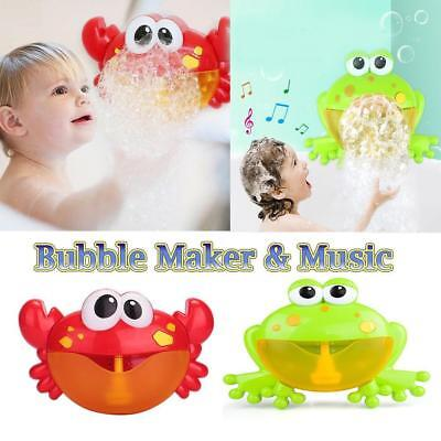 Bubble Machine Tub Crab Frog Automatic Spume Maker Blower Music Songs Bath Toys