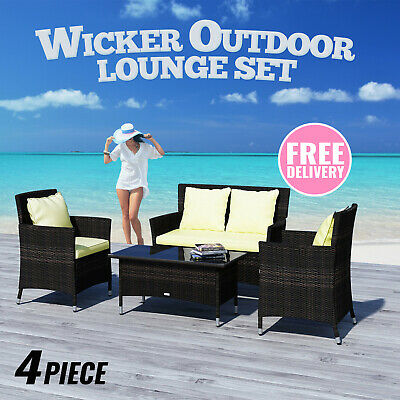 Admirable 9 Seater Pe Wicker Outdoor Dining Setting Lounge Sofa Chairs Home Interior And Landscaping Ologienasavecom