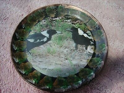 Magpies    Two      On A Decoupage  Plate